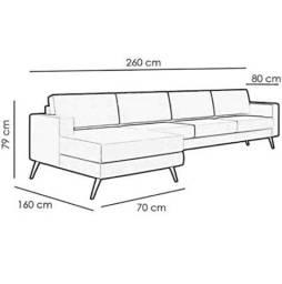 Sofá Novo com Chaise 4 lugares - Cinza tecido Linho