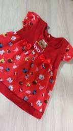 Vestido vermelho bebê tamanho P