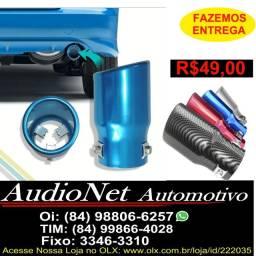 Ponteira Escapamento Tunning Automotivo Azul Preto Vermelho Cinoy Aluminio Carro