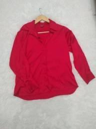 Camisa social de cetim vermelho