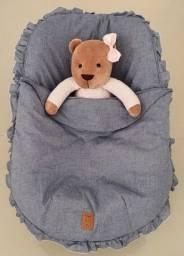Capa de bebê conforto universal jeans com tampa