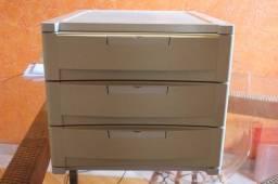 Gaveteiro / Porta Arquivo c/ 3 gavetas / em Plástico Bege / Cinza 27 cm x  32 cm x  40 cm