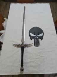 Título do anúncio: Espada The Punisher - O Justiceiro Aço Inox Anime Comics + Suporte de Parede