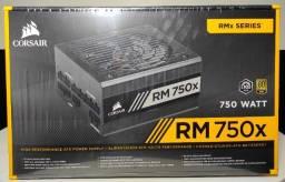 Fonte Corsair RM750x 750W, 80 Plus Gold, Modular! (Nova, Lacrada Com Nota e Garantia)