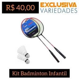 Kit Badminton Infantil 2 Raquetes e 2 Petecas