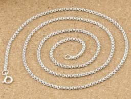 Corrente Prata pura 2mm colar grosso duplo círculo redondo  tam 60cm