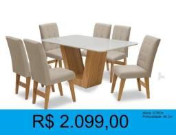 Título do anúncio: Mesa com 6 cadeiras - compre hoje e receba amanhã