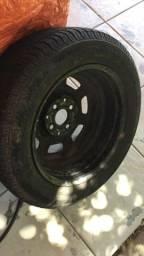 Título do anúncio: roda de ferro 13 com pneu meia vida ideal step