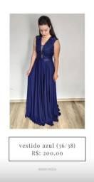 Vestido de festa azul 200,00 em até 3x no cartão