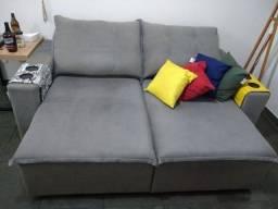 Sofá retrátil e reclinável cinza semi-novo