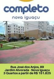 Nova Iguaçu - Apartamentos sala 02 quartos prontos com garagem -À partir Renda R$1.800