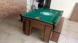 Mesa Charme e Jantar | Mesa Imbuia | Tecido Verde | Palmeiras | Modelo: WPQN2386
