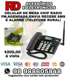Celular de mesa chip radio fm agendada envia recebe sms telefone rural