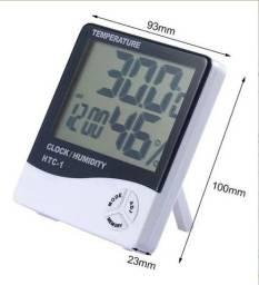 Termo Higrômetro Medidor Temperatura Umidade Relógio Digital
