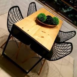 Mesa jantar metal e madeira pinus 1,00x 0,60