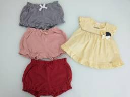 Lote de roupas femininas com 3 shorts e 1 camisa (3 a 6 meses)