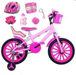 Bicicleta infantil com cadeirinha + capacete + joelheira