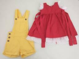 Lote de roupas com 1 vestido e 1 macacão (1 ano)