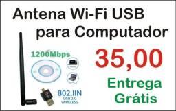 Antena Wi-Fi USB para Computador 35,00 Entrega Grátis