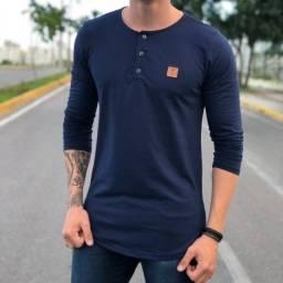 Título do anúncio: Camisas Manga Longa - Gola Portuguesa (Henley) / - 100% Algodão