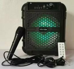 Promoção caixa de som com microfone e alça