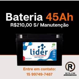 Título do anúncio: Líder Bateria 45 ah free -) Disk Entrega Sorocaba