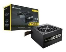 Fonte Corsair 600W REAL VSSeries VS600 80 Plus White, novo