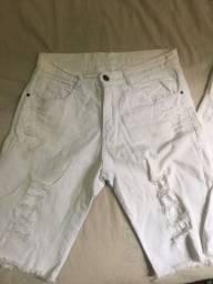 Bermuda jeans branca 42