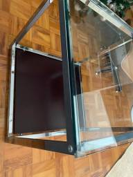 Mesa lateral vidro e metal quadrada