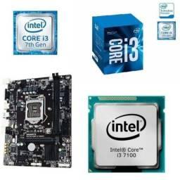 Kit placa mãe e processador Intel i3 7100 7 geração
