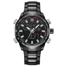 e05931a5d02 Relógio Luxuoso Naviforce Preto Digital e Analógico à prova d água 100%  Novo e