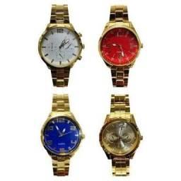 0c93121368c Relógio Masculino E Feminino Com Pulseira De Ferro Dourada