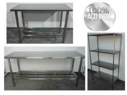 Mesas e estantes em inox para sua cozinha - Produtos novo com preço de fábrica