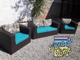 Conjuntos de Sofas e Poltronas Para Jardim em Fibra Sintetica