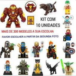 Kit 10 bonecos Marvel DC Star Wars Ninjago etc..