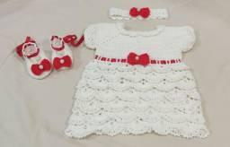 Conjunto vestido de croche para bebê