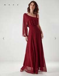 Vestido longo, cor Marsala