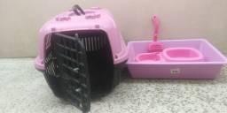 Kit Caixa de transporte , caixa de areia c/pázinha e pote de água / ração