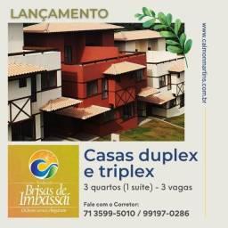 Casas Duplex no Brisas de Imbassaí, 89m² 3/4 com 1 suíte e 3 vagas