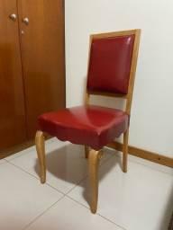Título do anúncio: Jogo 8 Cadeiras Madeira Marfim Couro Vermelho