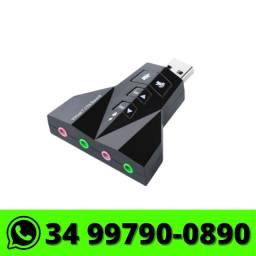 Adaptador de Som USB Externo Pc Notebook