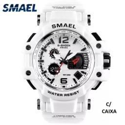Título do anúncio: Relógio Militar Smael S Shock Branco 1509 a prova da água C/ Caixa