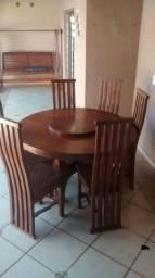 Jogo de mesa giratória madeira maciça