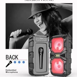 Caixa de Som com Microfone e Led Potente 1200w 10w bluetooth, Radio, Usb e mais... Novo