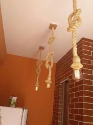 Luminária rústica de corda de sinsal