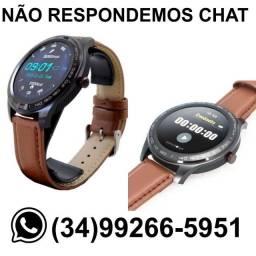 Título do anúncio: Relógio SmartWatch Redondo Knup SW-9 * Pulseira de Couro * Completo