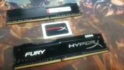 2 (duas) unidades de memória RAM Fury color Preto 4GB 1x4GB HyperX HX424C15FB/4