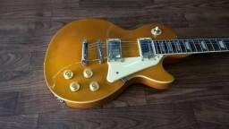 Guitarra Less Pool Michael Dourada, amplificador, capa e cabo