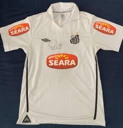 Camisa do Santos, temporada 2010, autografada pelo Rei Pelé
