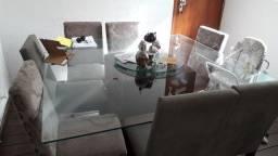Vendo mesa de vidro 8 cadeiras